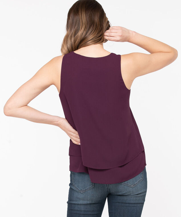 Sleeveless Layered V-Neck Blouse, Windsor Wine, hi-res
