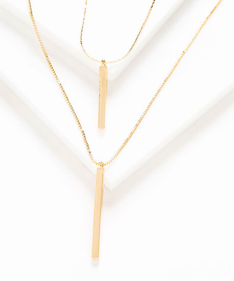 Gold Long Layered Bar Pendant Necklace, Gold, hi-res