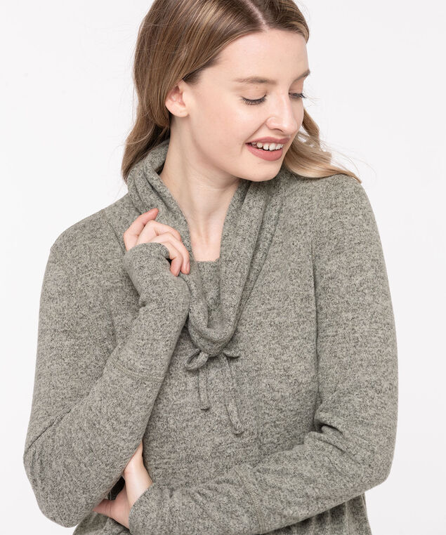 Cozy Cowl Neck Tunic Top, Light Grey Mix