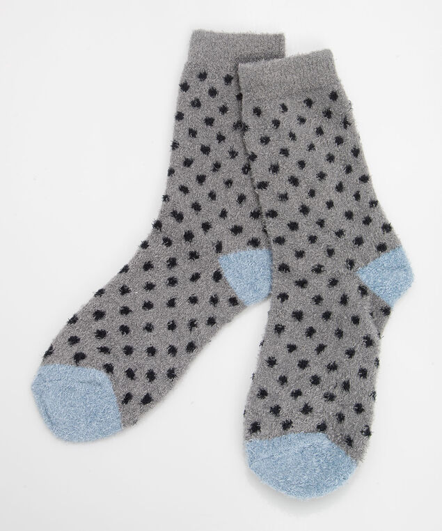 Plush Dot Pattern Socks, Grey/Black/Steel Blue, hi-res