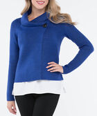One Button Cropped Sweater Jacket, Steel Blue, hi-res