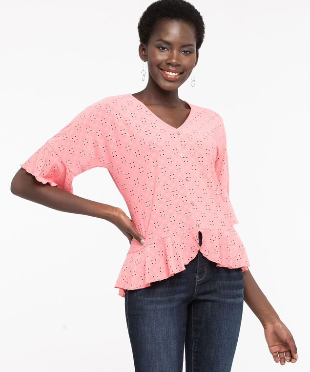 Flounce Trim High/Low Eyelet Top, Bellini, hi-res