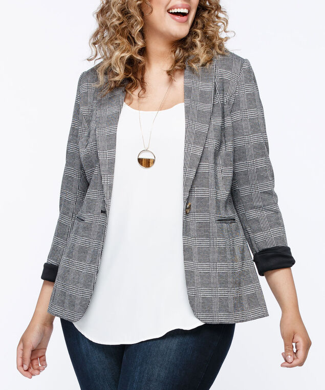Long Sleeve Plaid Boyfriend Blazer, Charcoal/Grey, hi-res