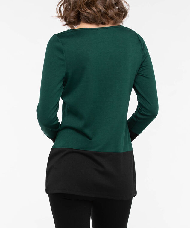 Long Sleeve Colourblock Tunic, Deep Green/Black, hi-res