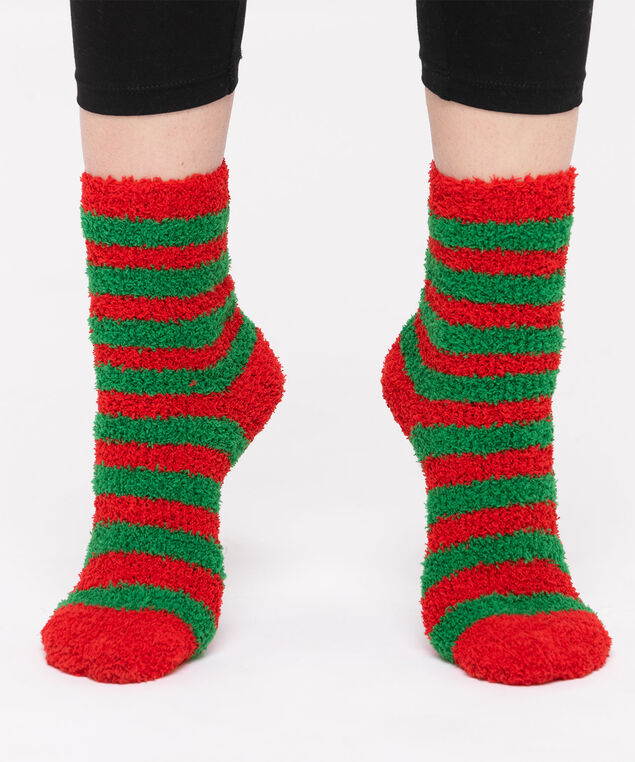 Festive Stripe Plush Sock, Red/Green