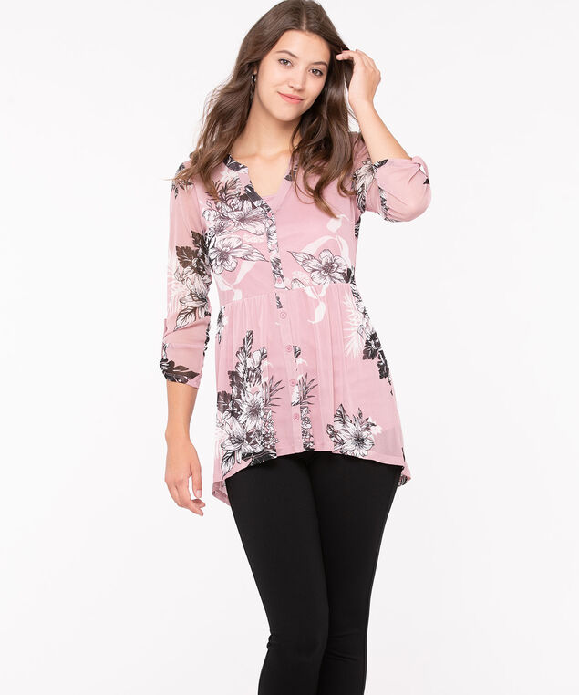 Button Front Mesh Floral Top, Blush/Pearl/Black, hi-res
