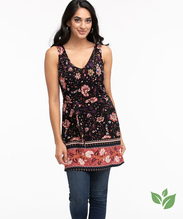 Eco-Friendly Tie-Waist Tunic Top, Black/Pink Floral Border