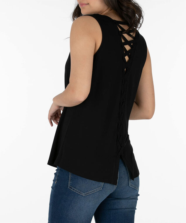 0760f4d0f1 Lace-Up Back Sleeveless Top