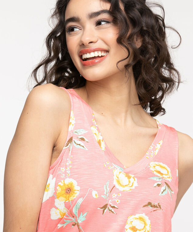 Sleeveless V-Neck Swing Top, Paradise Pink Floral
