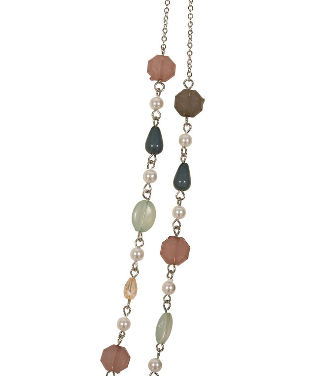 Stationed Pearl & Bead Necklace, Pink/Mint/Rhodium, hi-res