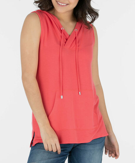 Sleeveless Hooded Pullover, Coral, hi-res