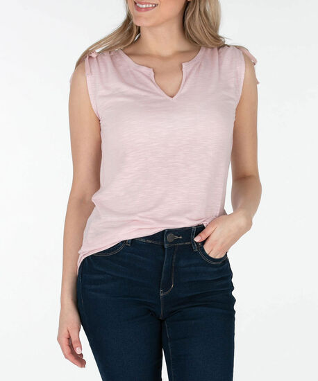 Sleeveless Notch Neck Ruched Top, Pastel Pink, hi-res