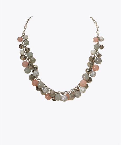 Stone & Bead Cluster Statement Necklace, Pink/Blue/Clear/Rhodium, hi-res