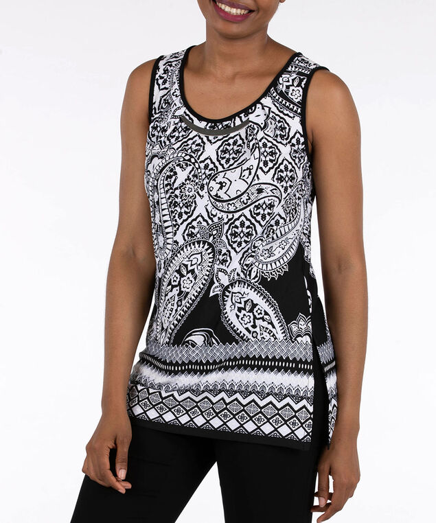 Sleeveless Textured Border Print Top, Black/Pearl, hi-res