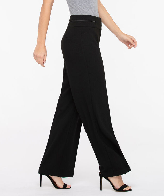 Wide Leg Crepe PU Trim Pant, Black, hi-res