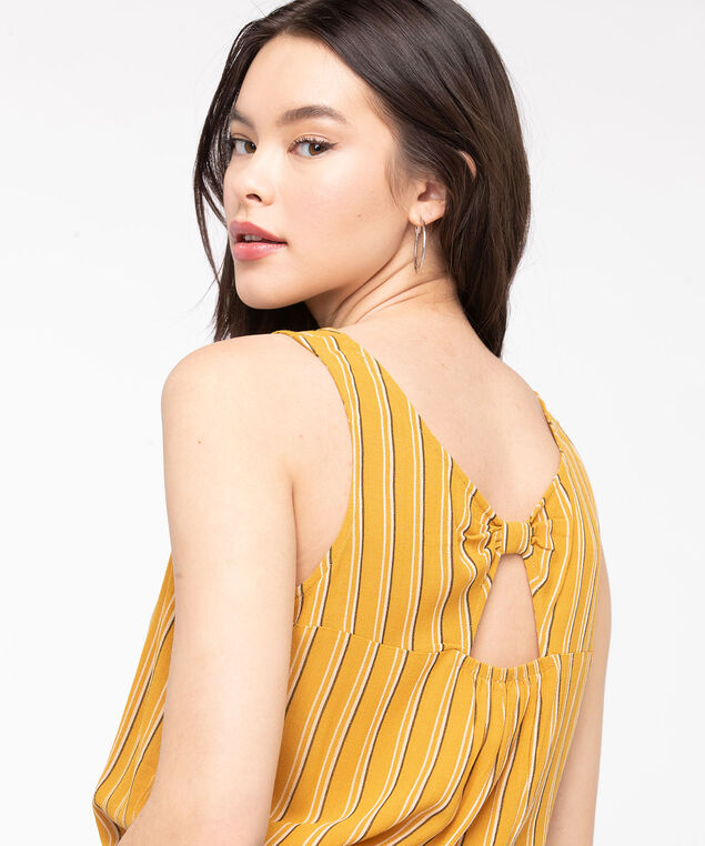 Striped Sleeveless Bow Back Blouse, Gold/Black/Pearl