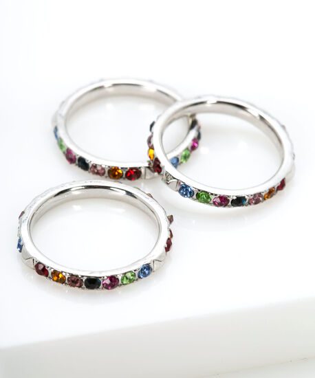 Rainbow Crystal Stacking Ring Set, Assorted, hi-res