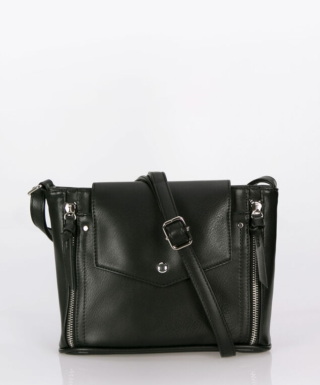 Double Zipper Trim Crossbody Bag, Black, hi-res
