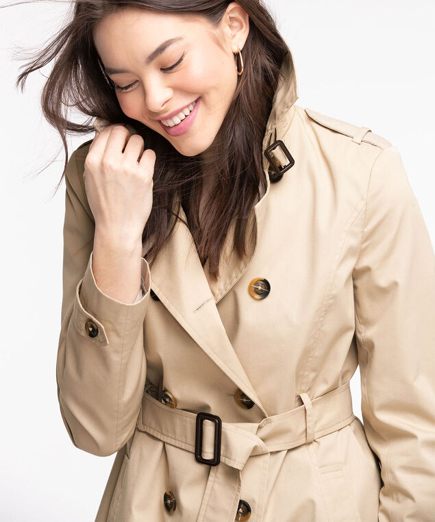 Belted Double Breasted Trench Coat, Tan