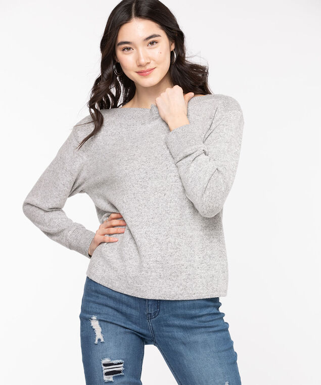 Ribbed Trim Boat Neck Pullover, Grey