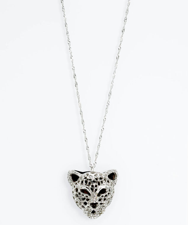 Crystal Panther Pendant Necklace, Rhodium/Hematite, hi-res