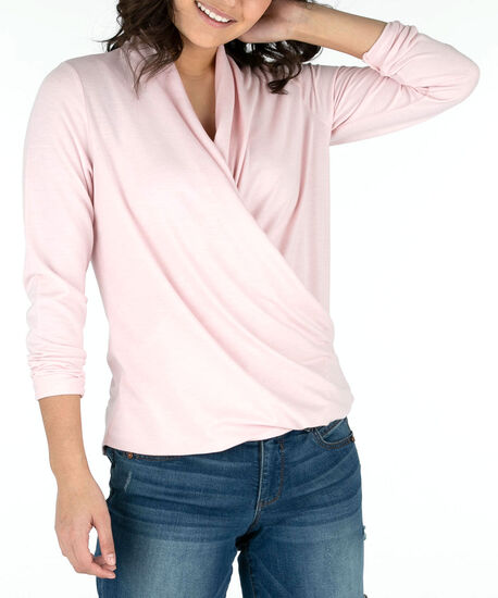 Long Sleeve Wrap Front Top, Pastel Pink, hi-res
