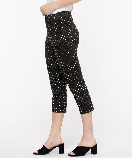 Microtwill Pull-On Crop Pant, Black/White Dot, hi-res