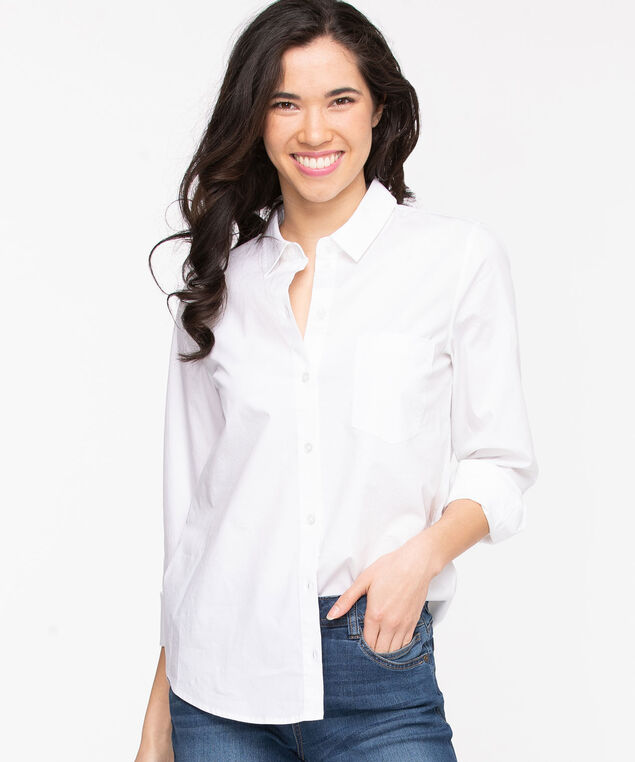 Classic Collared Button-Up Shirt, Snow White