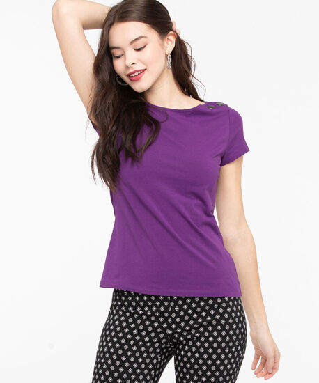 Button Shoulder Boat Neck Top, Purple, hi-res