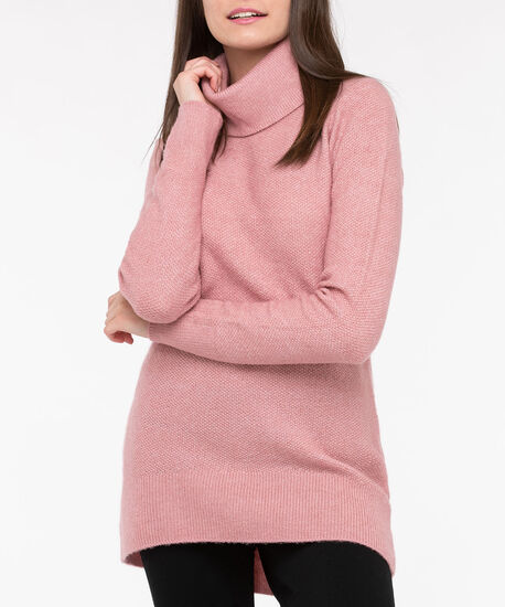 Funnel Neck High-Low Sweater, Dusty Blush, hi-res