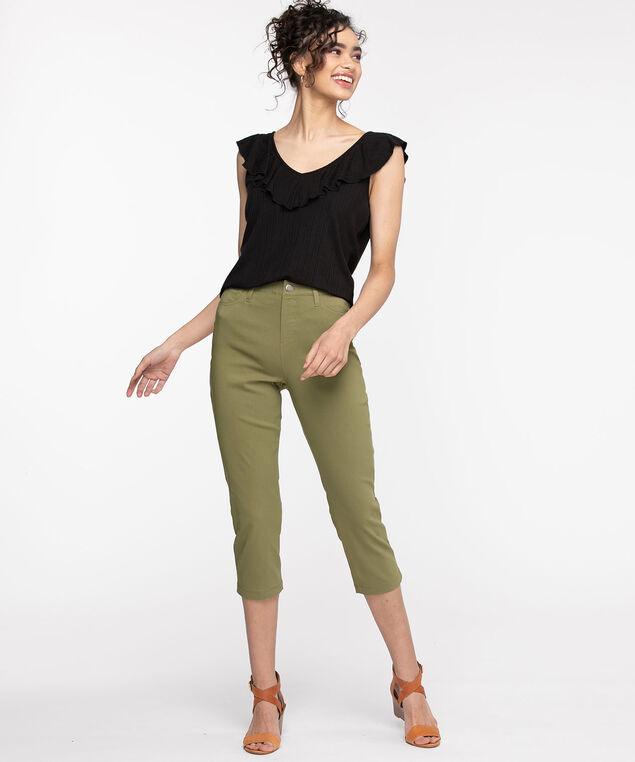 Microtwill Pull-On Crop Pant, Capulet Olive