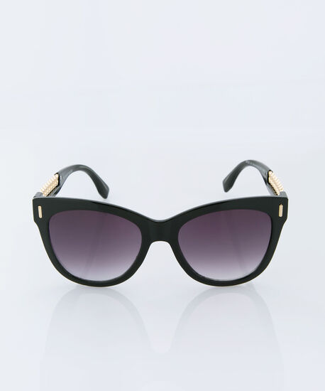 Chain Detail Cateye Sunglasses, Black/Gold, hi-res