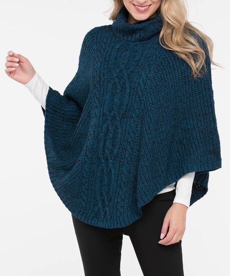 Cable Knit Cowl Neck Poncho, Steel Blue Mix, hi-res