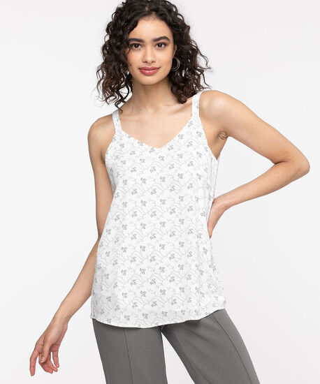 Strappy Double Layer Sleeveless Blouse, Ivory/Black, hi-res