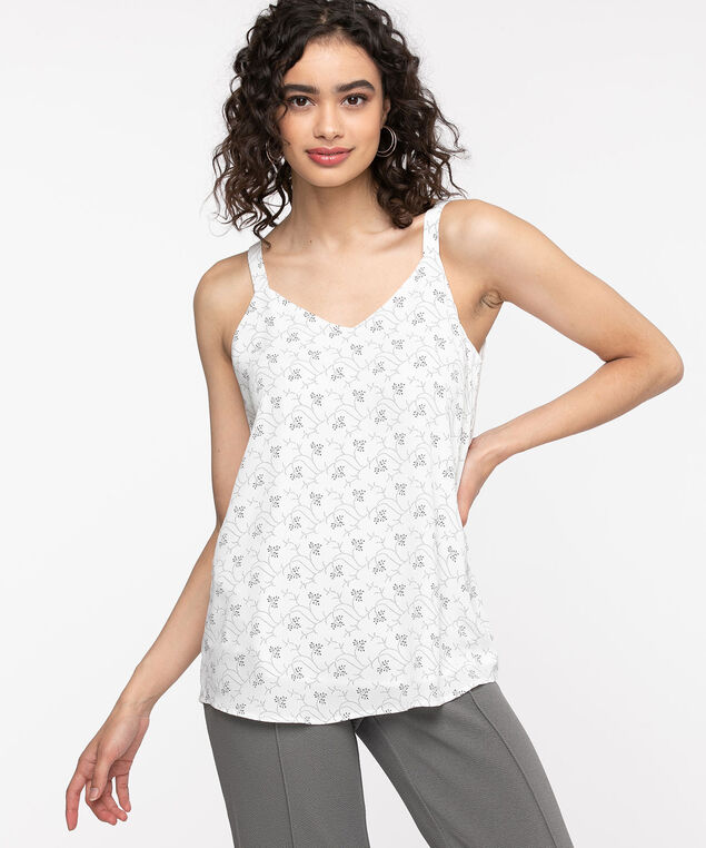 Strappy Double Layer Sleeveless Blouse, Ivory/Black