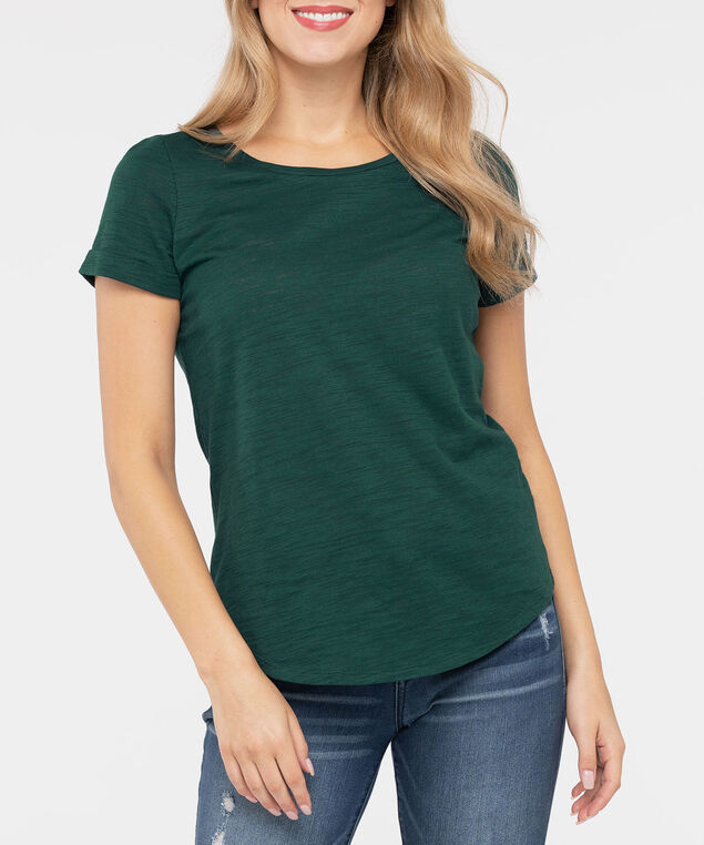 Short Sleeve Roll Cuff Slub Top, Ivy, hi-res