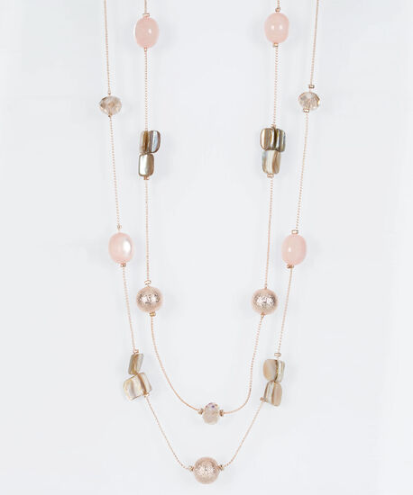 Stationed Bead & Natural Stone Necklace, Rose Gold/Cameo Pink, hi-res
