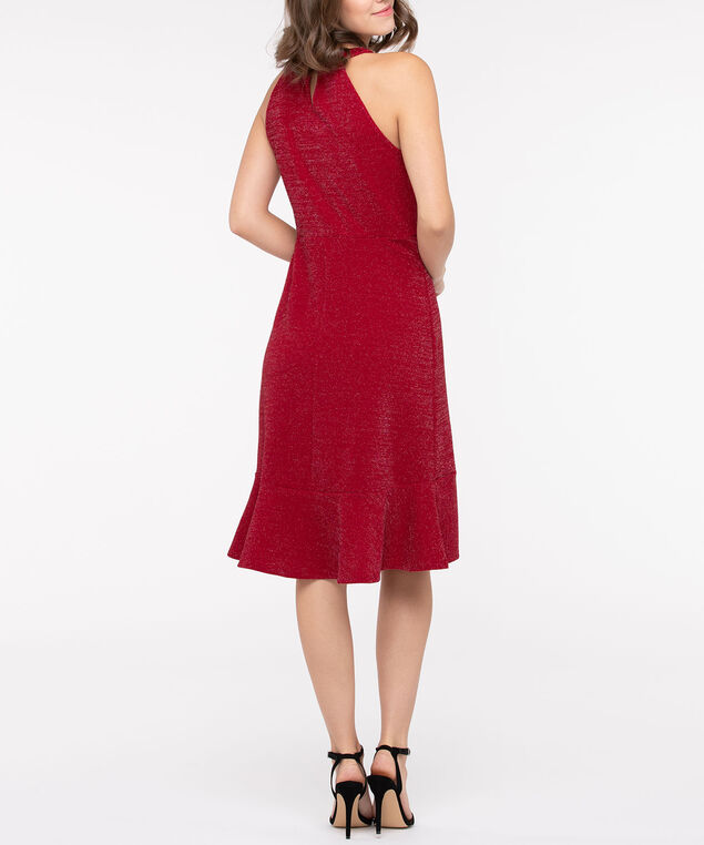 Sparkly Ruffle Front Halter Dress, Crimson, hi-res