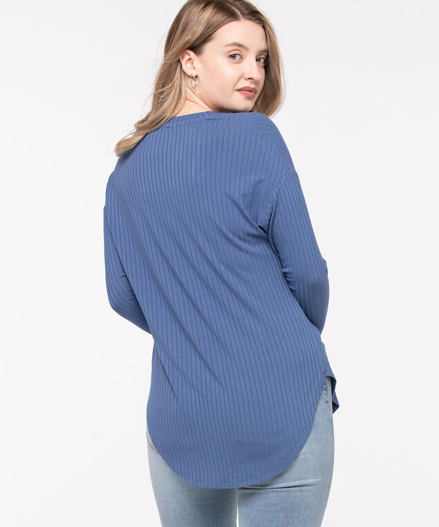 Ribbed Button Front Long Top, Bijou Blue, hi-res