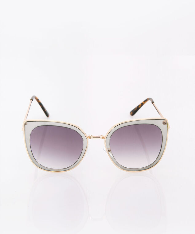 Double Frame Cateye Sunglasses, Brown/Gold, hi-res