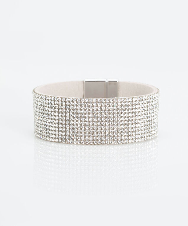 Pave Crystal Magnetic Cuff Bracelet, Rhodium, hi-res