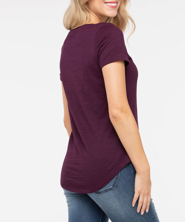 Short Sleeve Roll Cuff Slub Top, Burgundy, hi-res