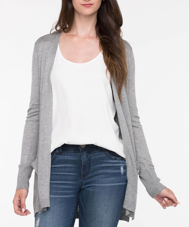 Long Sleeve Pointelle Open Cardigan, Grey, hi-res