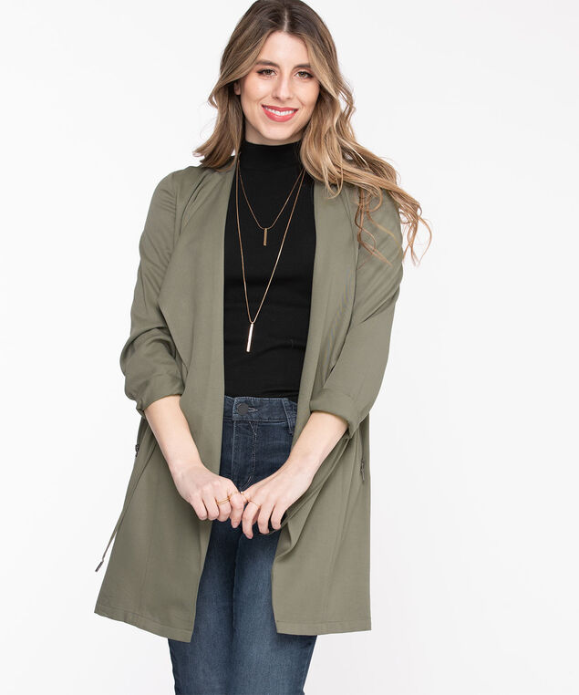 Long Sleeve Drape Front Jacket, Sage Green