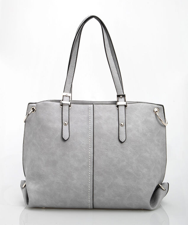 Stud Detail Tote Handbag, Grey/Rhodium, hi-res