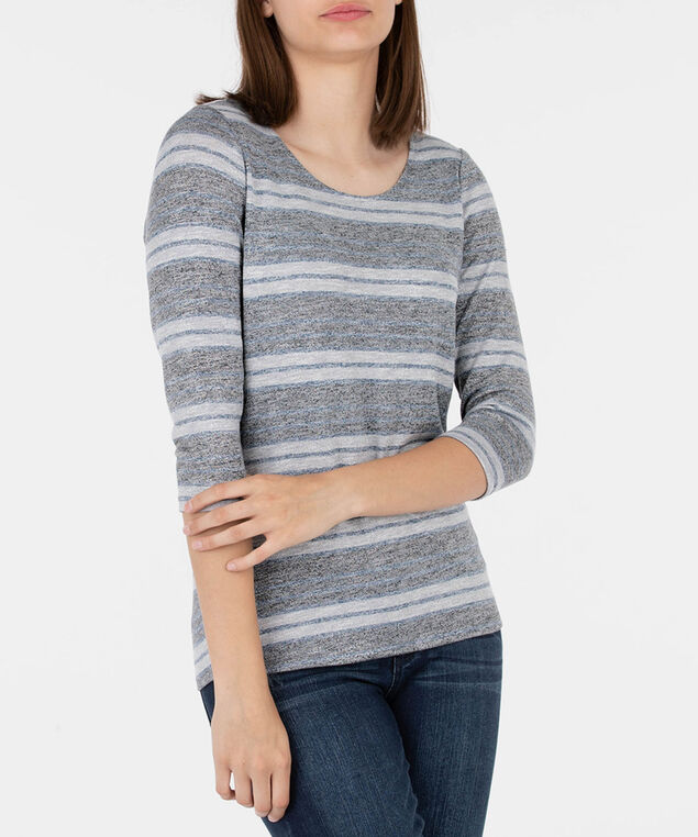 Striped Keyhole Cross Back Top, Deep Sapphire/Grey, hi-res