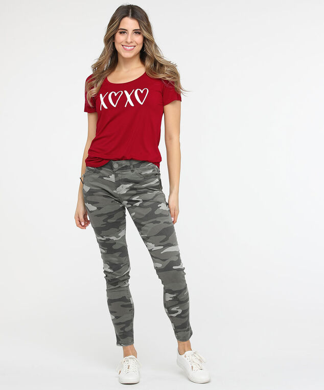XOXO Graphic Scoop Neck Tee, Crimson/Pearl, hi-res