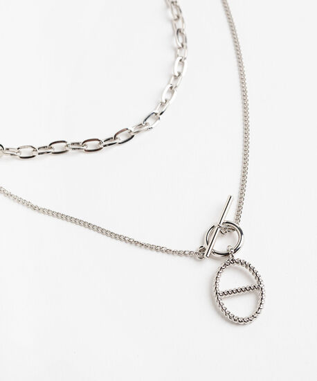 Silver Chain Layered Necklace, Rhodium, hi-res