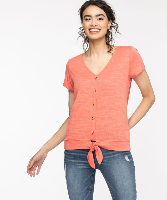 Button Up Tie Front Top, Lantana