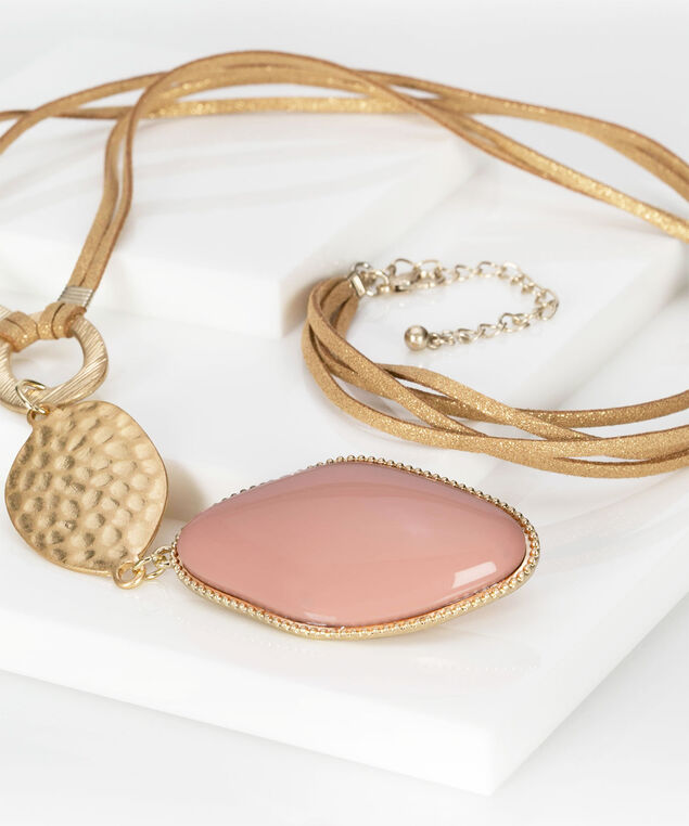 Hammered Gold & Natural Stone Necklace, Gold/Cameo Pink, hi-res
